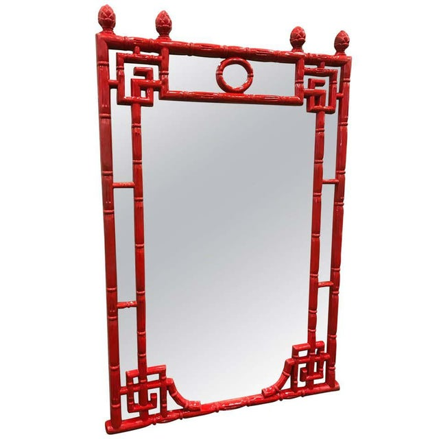 1970s Red Chinese Chippendale Style Mirror For Sale - Image 5 of 5