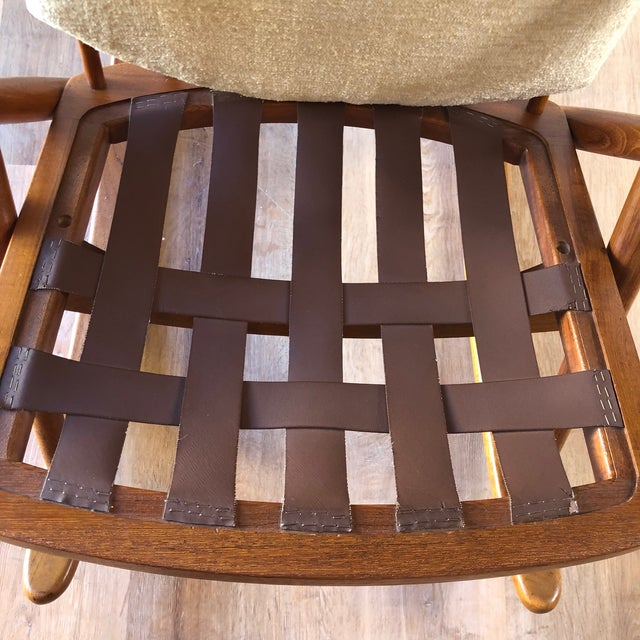 Wood Newly-Upholstered Frank Reenskaug Teak Rocking Chair for Bramin For Sale - Image 7 of 11