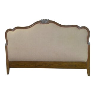 1970s Vintage Queen Size Tuscan Inspired Upholstered Headboard For Sale
