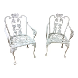 Pair of Cast Aluminum Garden Chairs For Sale