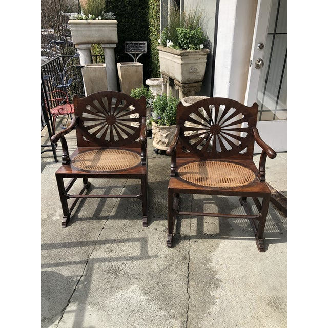 Fine 18th Century English Mahogany Hall Chairs With Oval Cane Seats, a Pair For Sale - Image 13 of 13