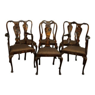 Antique Chinoiserie Painted Mahogany Set 6 Queen Anne Dining Chairs For Sale