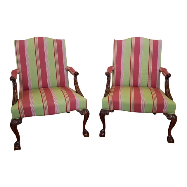 Martha Washington Mahogany Chippendale Style Southwood Furniture Gainsborough Armchairs - A Pair For Sale