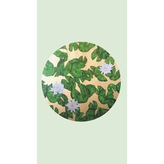 Tondi Fiori Collection Water Lily Gold Circular Shaped Wallcovering over Green Illusion For Sale