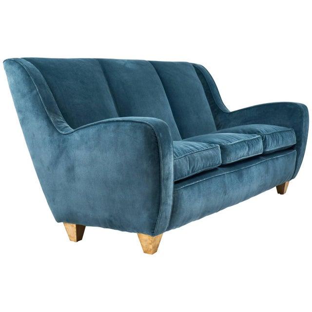 Mid-Century Italian Poltrona Frau Velvet Sofa For Sale - Image 12 of 12