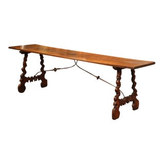 18th Century Spanish Carved Chestnut Console Table with Wrought Iron Stretcher