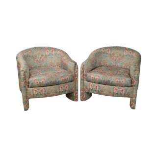 Design Institute of America Art Nouveau Style Rose Garden Upholstered Club Chairs - a Pair
