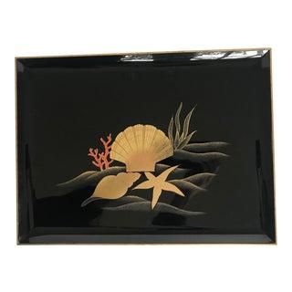 Mid-Century Otagiri Black Lacquerware Tray With Shell Design For Sale