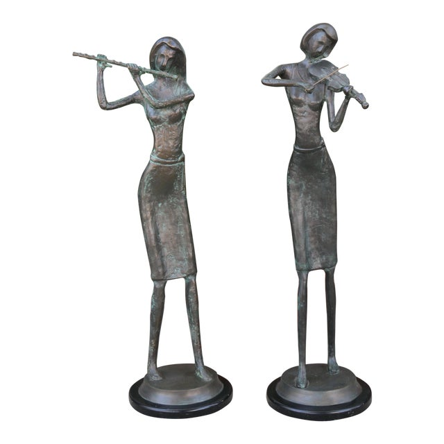 Bronze and Marble Pair of Musician Table Statues For Sale