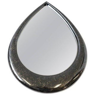 Black and Gold Lacquer Teardrop Mirror by Gample-Stoll Inc