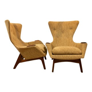 1960s Vintage Adrian Pearsall Wingback Chairs- A Pair For Sale