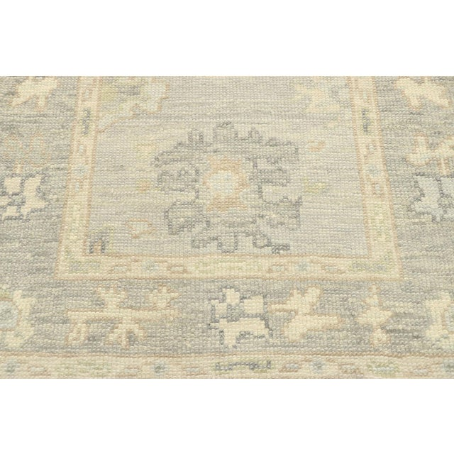 Contemporary Turkish Oushak Runner With Transitional Style - 03'00 X 09'11 For Sale - Image 4 of 9