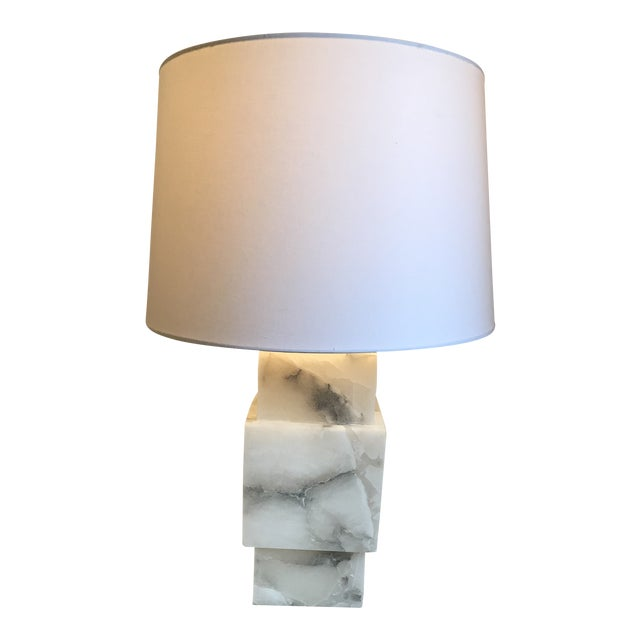 Minimalist Modern Alabaster Lamp With Shade For Sale