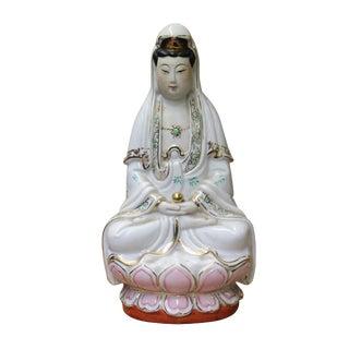 Chinese Small Handmade Ceramic Sitting Kwan Yin Statue For Sale