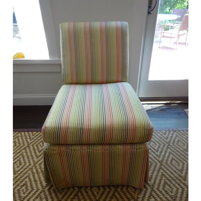 Stripped High Back Slipper Chair - Image 2 of 7