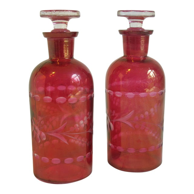 Bohemian Glass Bottles - A Pair For Sale