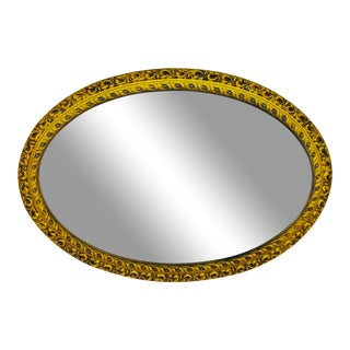 Vintage Resin Wood Look Framed Oval Wall Mirror For Sale