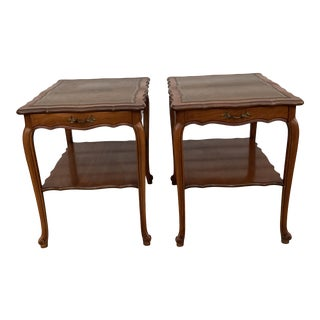 Vintage Solid Wood Leather Top Side Tables - a Pair For Sale