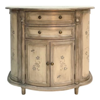 Stenciled Demilune Entry Way Cabinet
