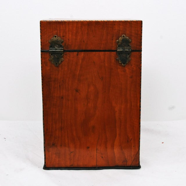 19th Century English Satin Wood & Mahogany Georgian Cutlery Box For Sale - Image 4 of 5