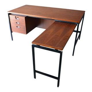 Herbert Hirche Teak, Rosewood and Steel Floating Top Executive Desk, Circa 1950 For Sale
