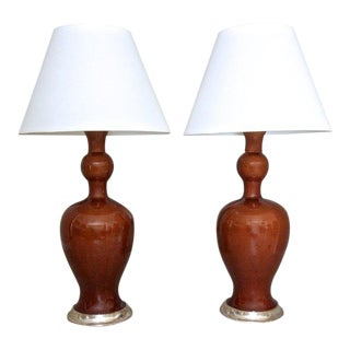 "Christopher Spitzmiller ""Marjorie Amber"" Table Lamps - a Pair"
