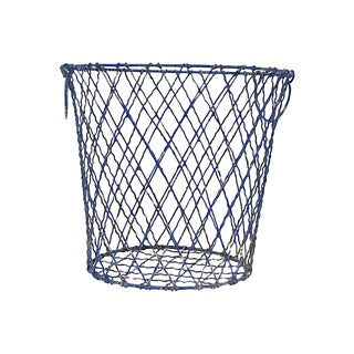Mid-Century French Blue Wire Waste Basket For Sale