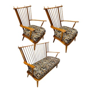 Danish Windsor Bench and Chairs, 1950s - Set of 3 For Sale