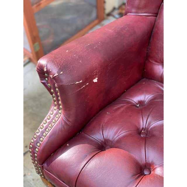 1990s Vintage Faux Leather Burgundy Chairs- A Pair For Sale In Atlanta - Image 6 of 8