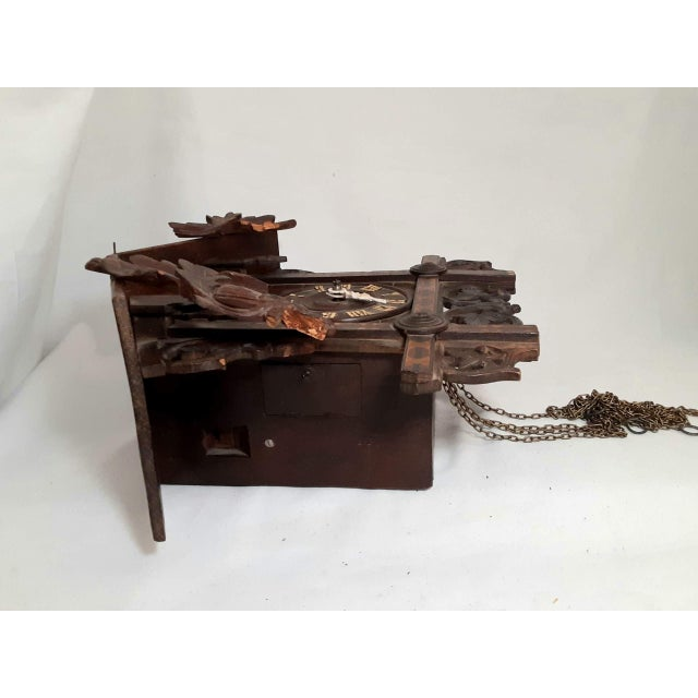 Black Early 20th Century Black Forest Carved Cuckoo Clock For Sale - Image 8 of 11