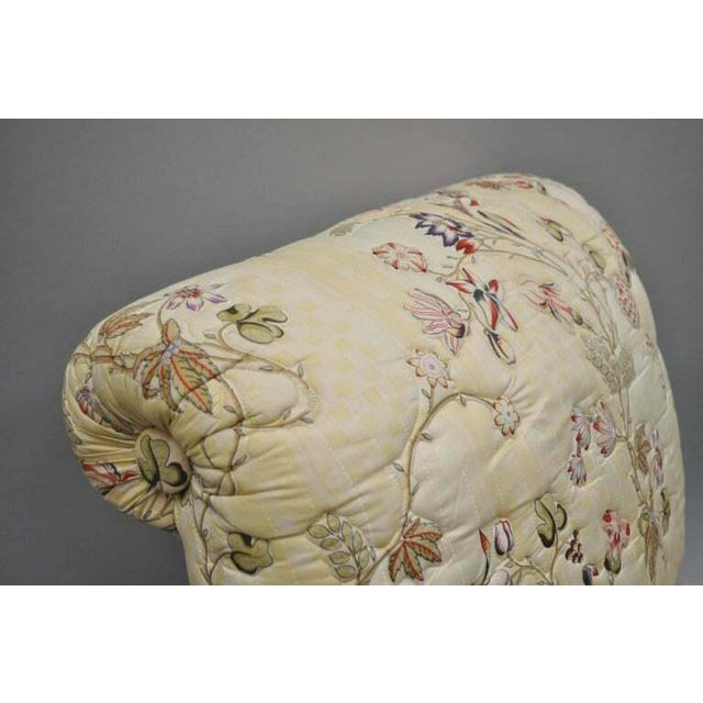 Vintage Upholstered Chinoiserie Slipper Lounge Chairs- A Pair For Sale - Image 4 of 11