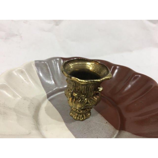 Art Ceramic Dish & Brass Candlestick For Sale - Image 4 of 11