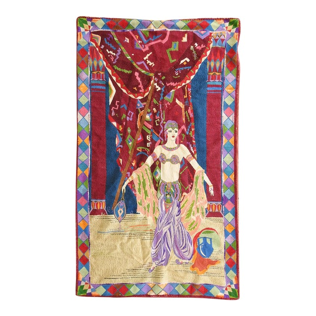 Art Deco Embroidered Tapestry Exotic Dancer For Sale