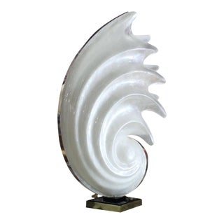 White Molded Acrylic Mid-Century Modern Sculptural Table Lamp For Sale