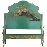 Image of English Chinoiserie Lacquered Headboard and Footboard
