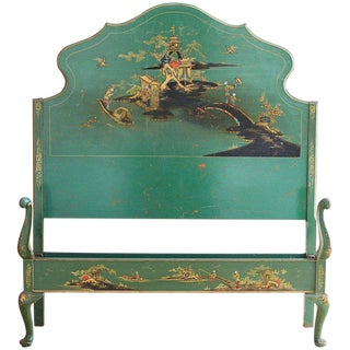 English Chinoiserie Lacquered Headboard and Footboard For Sale