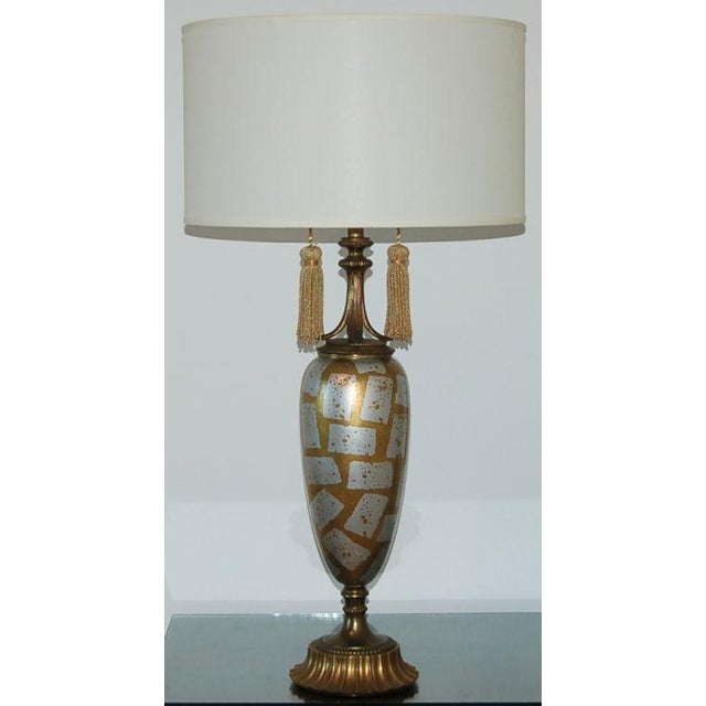 Hollywood Regency Vintage Italian Eglomise Glass Table Lamps Gold For Sale - Image 3 of 8