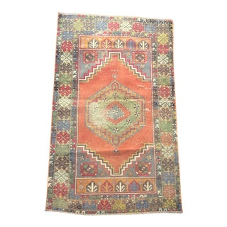 Distressed Turkish Antique Decorative Floor Rug For Sale