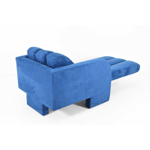 Blue 1970s Vladimir Kagan Deco Chaise For Sale - Image 8 of 12