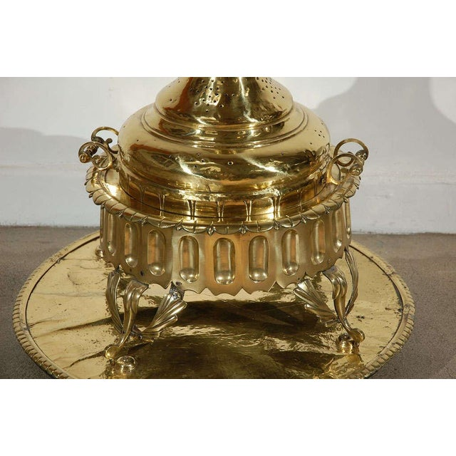 Folk Art Middle Eastern Polished Brass Incense Burner For Sale - Image 3 of 10