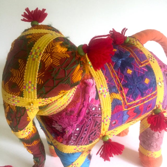 Boho Chic Vintage Indian Patchwork Elephant Figurine For Sale - Image 3 of 11