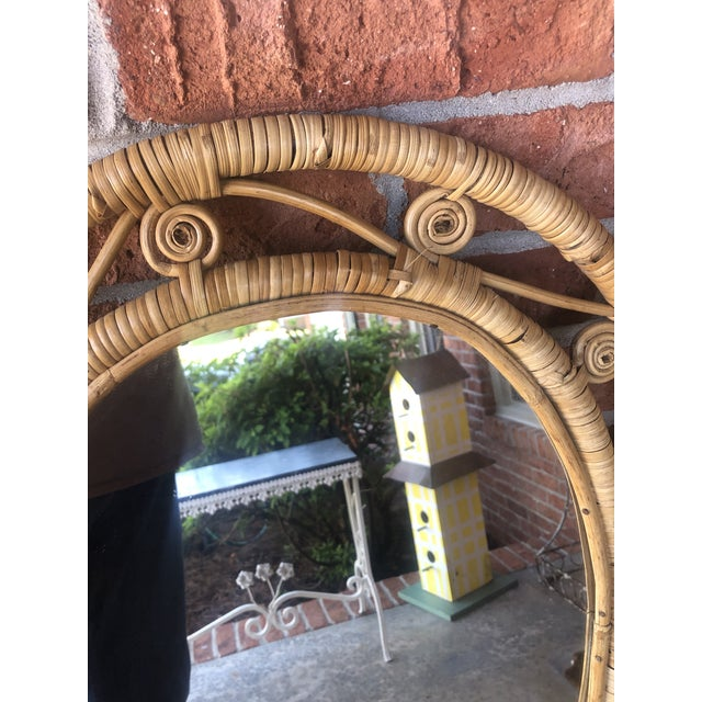 1970s Hollywood Regency Boho Chic Wicker Peacock Mirror For Sale - Image 5 of 13