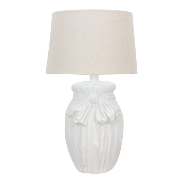Mid-Century Plaster Table Lamp With Ribbon Motif For Sale