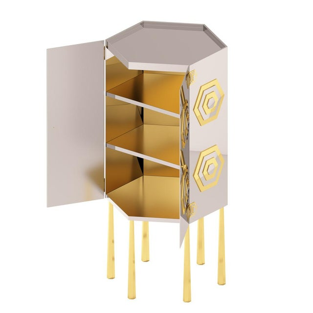 Metal Hex Cabinet by Artist Troy Smith - Contemporary Modern Design - Handmade Furniture - Very Limited Edition For Sale - Image 7 of 11