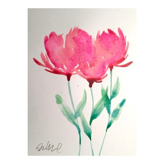"""Three Pink"" Floral Watercolor Painting"