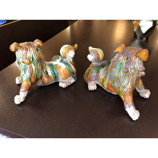 1950s Chinese Eye Catching Vintage Foo Dog Sculptures - a Pair For Sale - Image 4 of 13