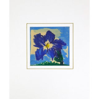 1970 French Indigo Blossom Drawing