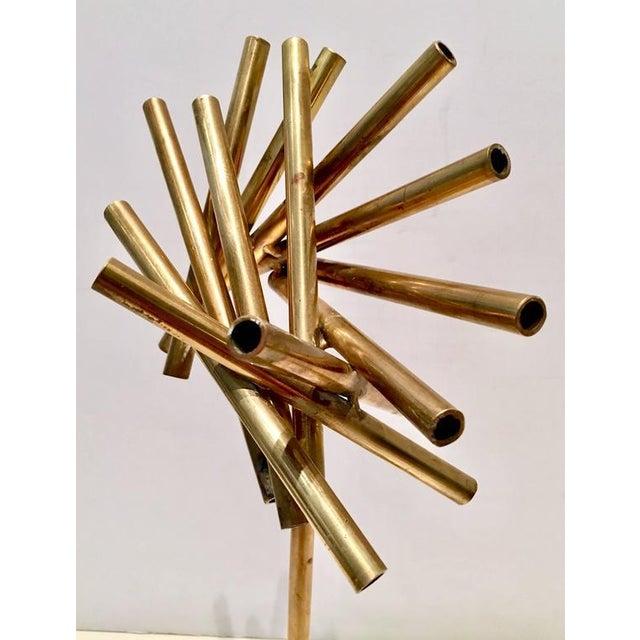 Modern Brass & Marble Abstract Tubular Sticks Sculpture - Image 6 of 9