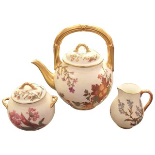 Late 19th Century Antique English Hand-Painted Tea Set- 3 Pieces For Sale