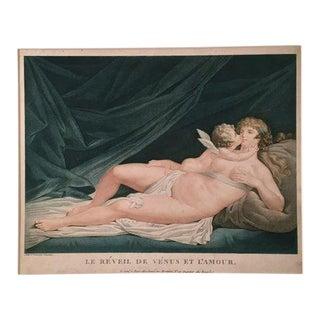 """Antique Fréderic Cazenave """"Venus & Cupid"""" Engraving For Sale"""